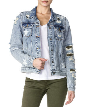 Miss Me Women's Destructed Denim Camo Jacket , Indigo, hi-res