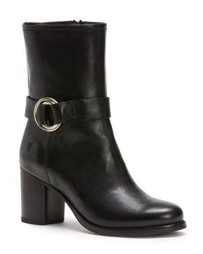 Frye Women's Black Addie Harness Mid Boots - Round Toe , Black, hi-res
