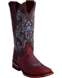 Ferrini Women's Studded Cowgirl Boots - Square Toe , Distressed Brown, hi-res