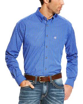 Ariat Men's Blue Pro Series Barado Plaid Western Shirt - Tall , Blue, hi-res