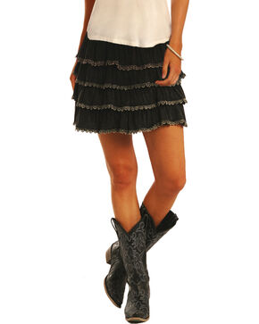 Rock & Roll Cowgirl Women's Layered Ruffle Skirt, Black, hi-res