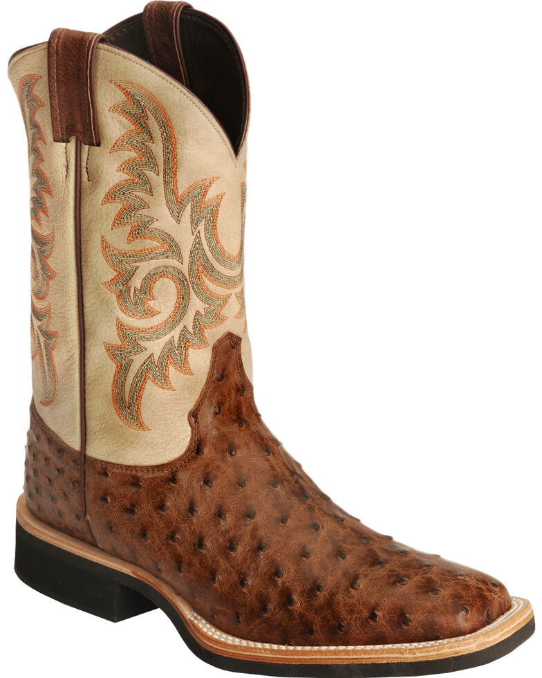 Justin Aqha Full Quill Ostrich Cowboy Boots Square Toe