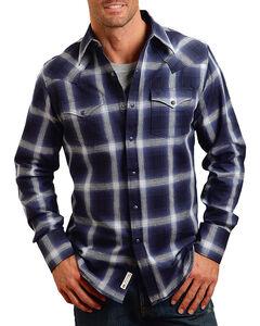 Stetson Men's Royal Plaid Long Sleeve Shirt , Navy, hi-res