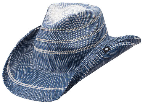 Peter Grimm Stadler Straw Cowboy Hat, Blue, hi-res