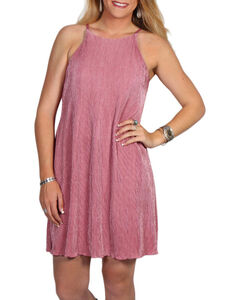 Derek Heart Women's Halter Trapeze Dress, Mauve, hi-res