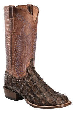 Lucchese Chocolate Brown Brooks Pirarucu Cowboy Boots - Square Toe , , hi-res