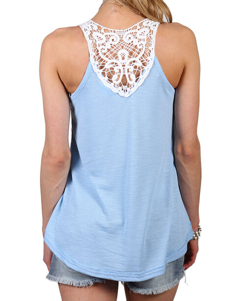 Shyanne Women's Ribbed and Lace Accent Tank, Blue, hi-res
