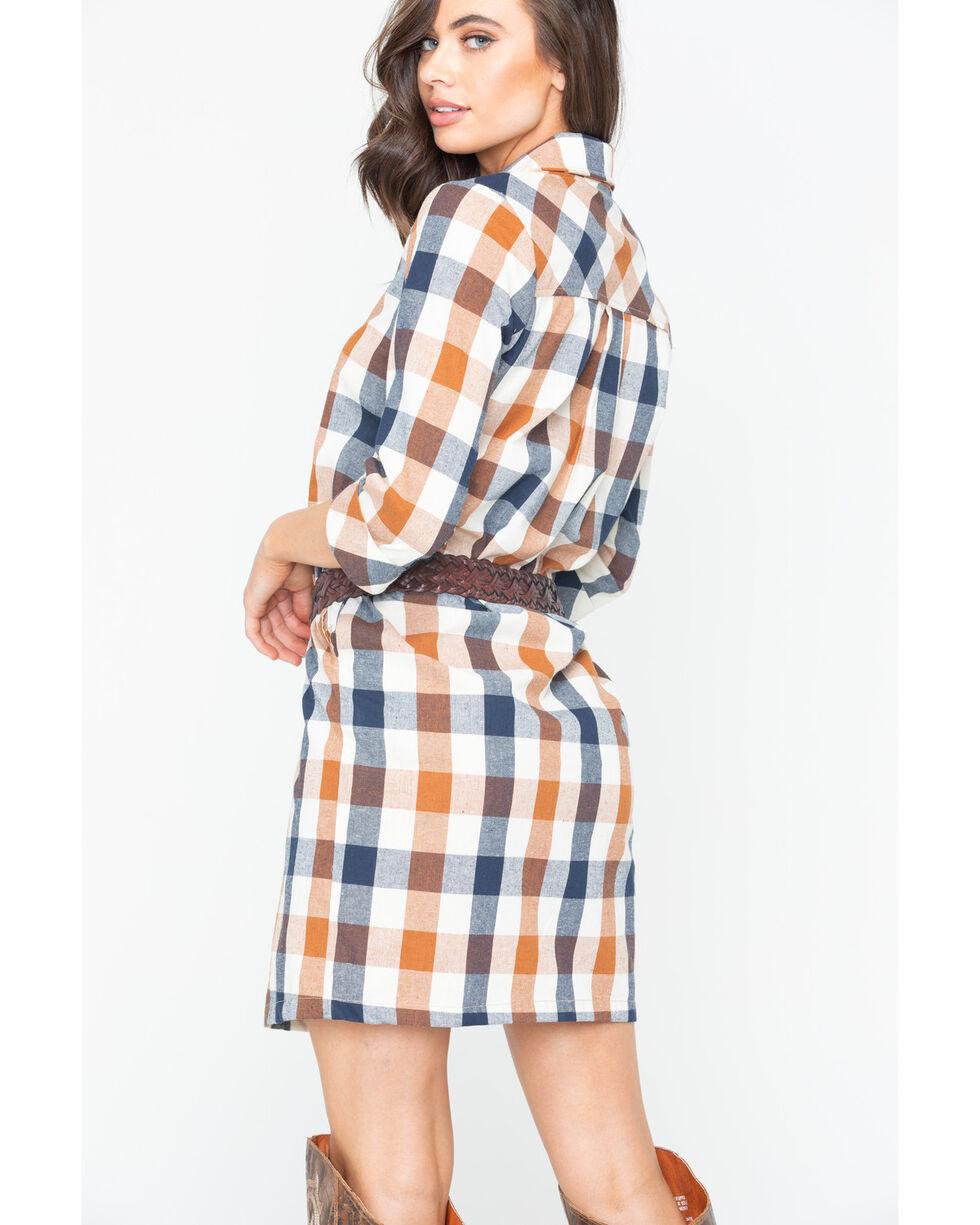 Glam Women's Checkered Plaid Shirt Dress , Multi, hi-res