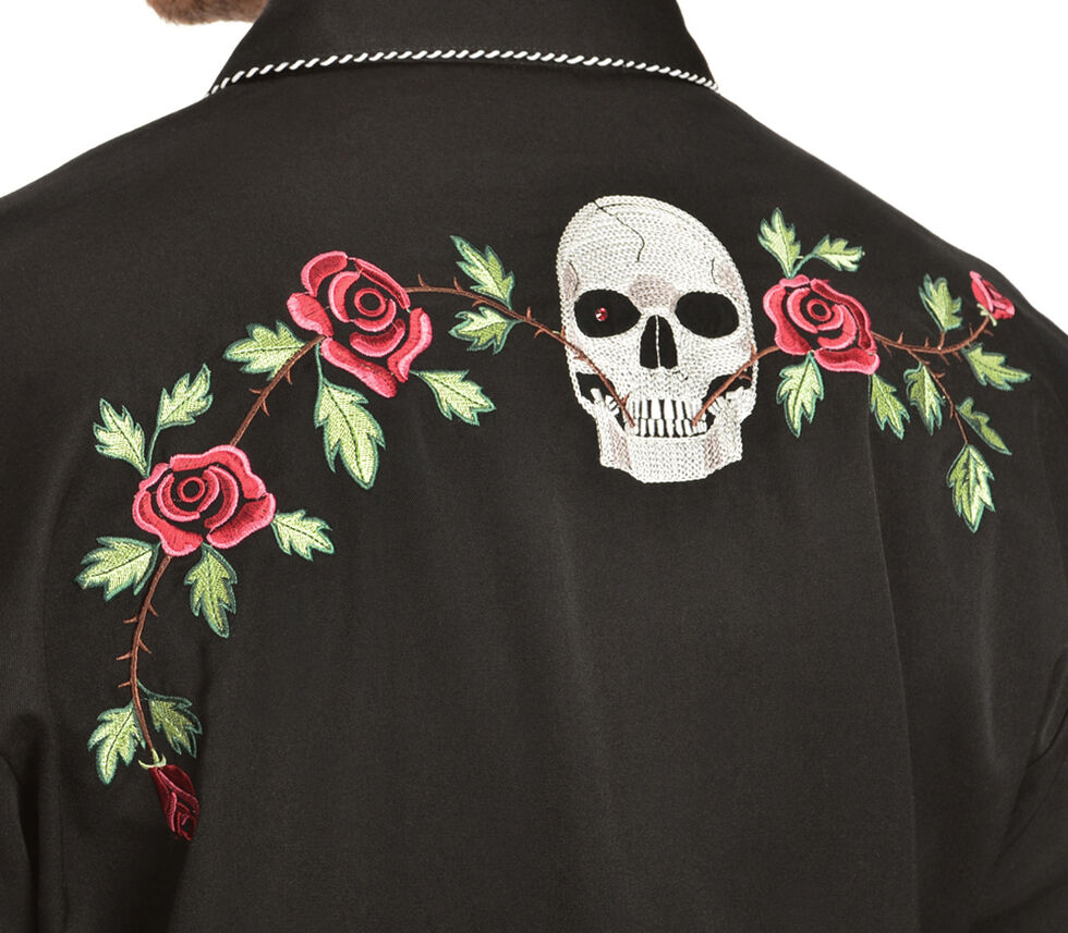 Scully Skull & Roses Embroidered Retro Western Shirt, Black, hi-res