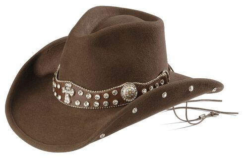 Bullhide Moment for Life Bling Cross Concho Cowboy Hat, Chocolate, hi-res