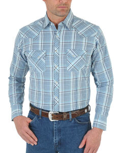 Wrangler 20X Men's Pick Stitched Long Sleeve Shirt - Tall, Blue, hi-res