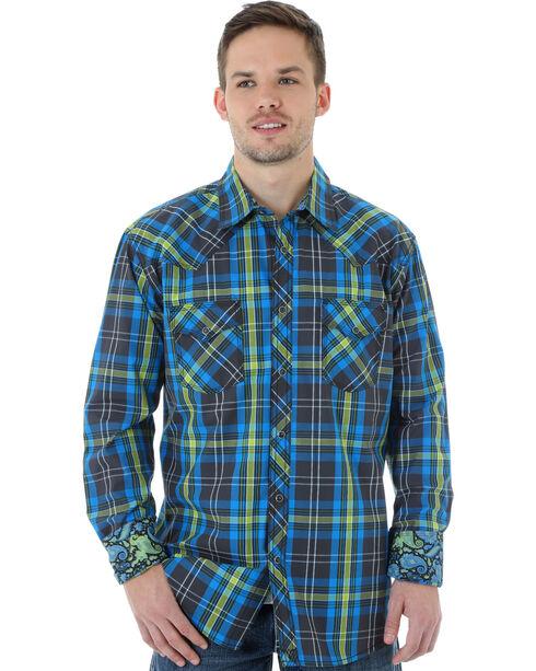 Wrangler 20X Men's Blue & Lime Plaid Shirt, Blue, hi-res