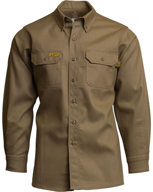 Lapco Men's Khaki FR Uniform Shirt - Tall , Beige/khaki, hi-res