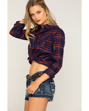 Shyanne Women's Lurex Cropped Plaid Flannel Shirt, Navy, hi-res