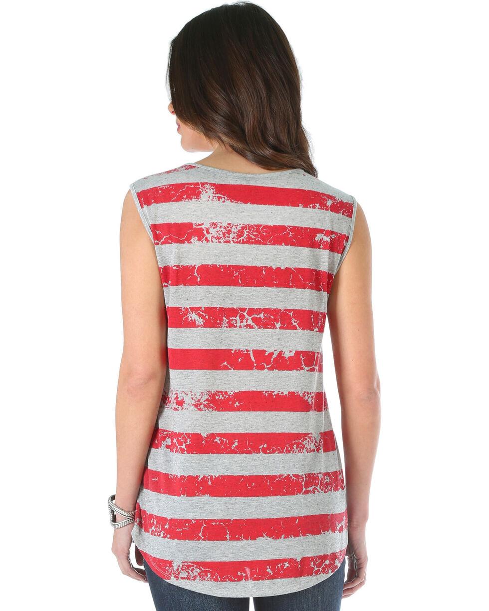 Wrangler Women's Striped Back Top with Wrangler Logo, Grey, hi-res