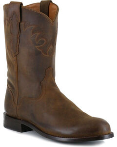 El Dorado Men's Tan Distressed Roper Western Boots - Round Toe , Tan, hi-res