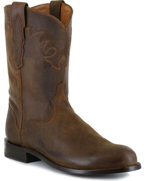 El Dorado Men's Tan Distressed Roper Western Boots - Round Toe , Tan, hi-res