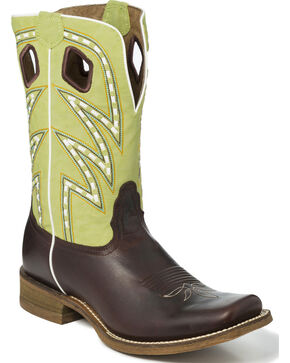Nocona Men's Two Tone Saddle Stitch Cowboy Boots - Square Toe, Dark Brown, hi-res