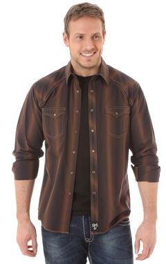 Wrangler Rock 47 Men's Brown Stipe Shirt, Brown, hi-res