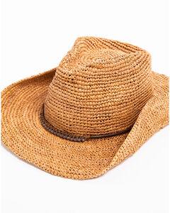ále by Alessandra Cassidi Crochet Raffia with Stone Leather Trim Hat, Brown, hi-res