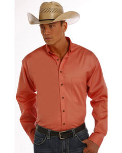 Panhandle Slim Men's Peach Solid Twill Shirt, , hi-res