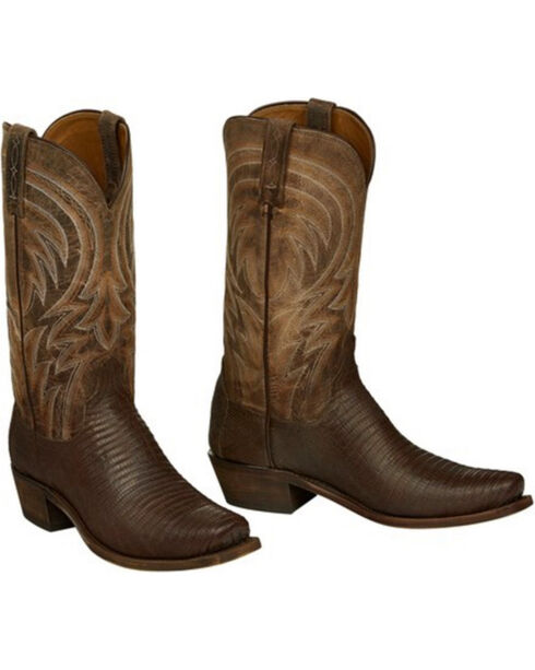 Lucchese Men's Tan Percy Lizard Boots - Square Toe , Tan, hi-res
