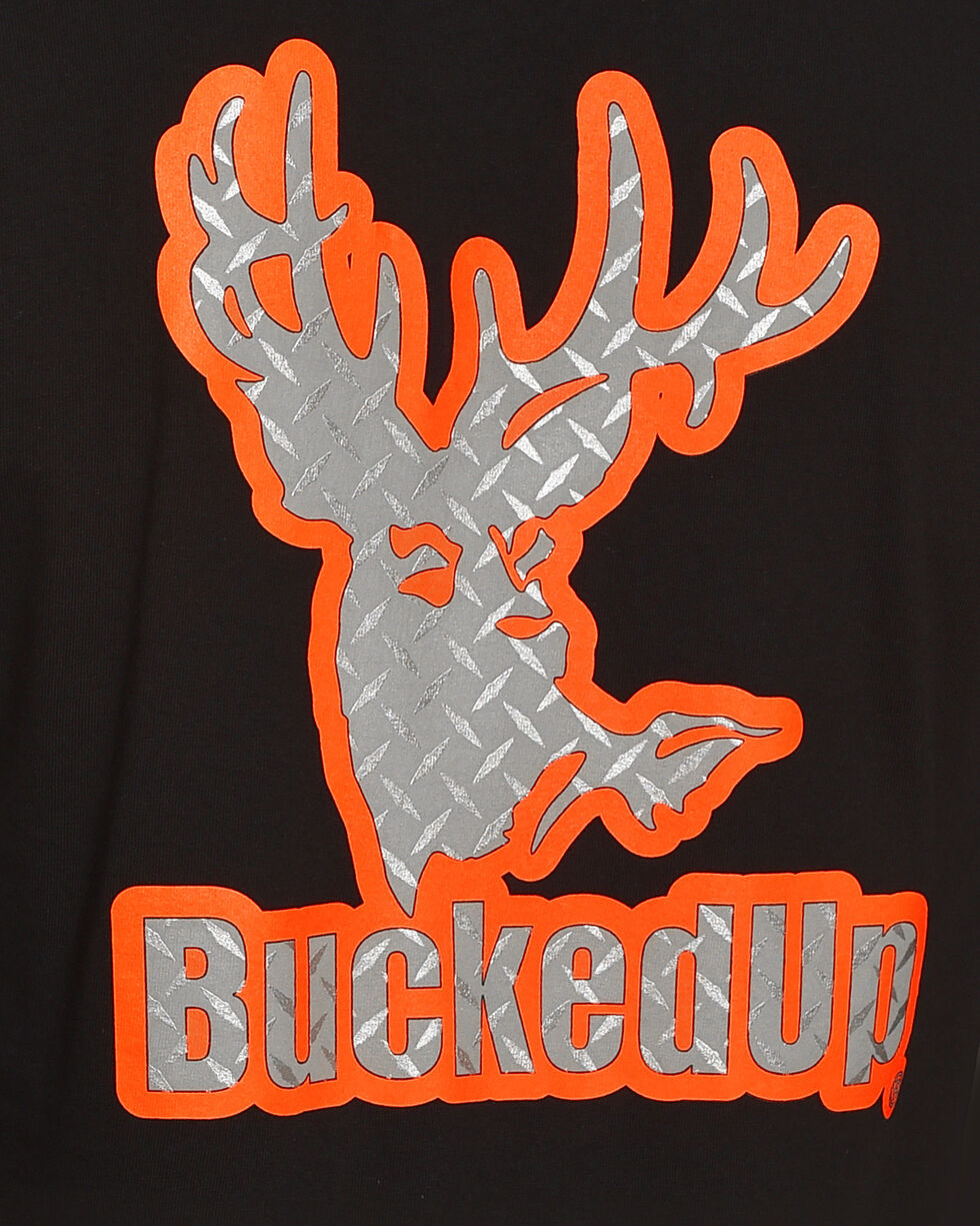 Bucked Up Men's Black Diamond Plate Logo Tee , Black, hi-res