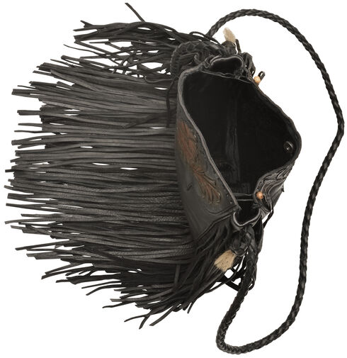 Kobler Leather Black Hand-Tooled Pouch Bag , Black, hi-res
