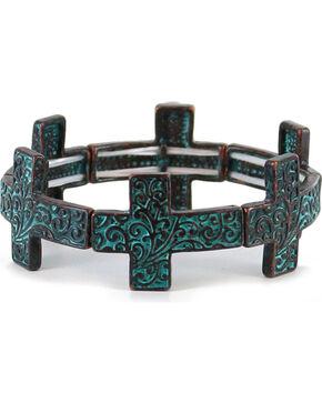 Shyanne Women's Antiqued Cross Bracelet, Turquoise, hi-res