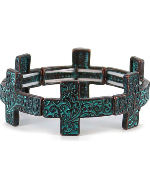 Shyanne Women's Antiqued Cross Bracelet, Turquoise, hi-res