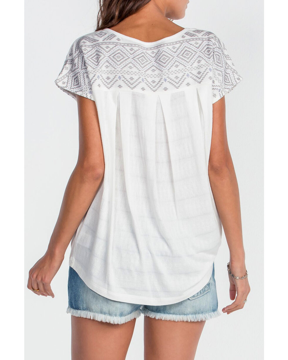 Miss Me Women's Ivory Hi-Lo Embroidered Top , Ivory, hi-res