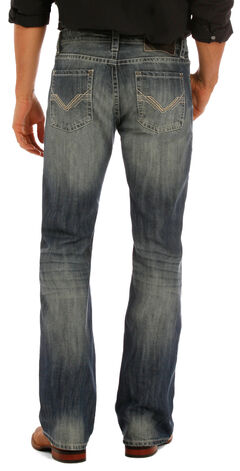 "Rock & Roll Cowboy Men's Indigo ""V"" Stitching Pistol Jeans - Boot Cut, , hi-res"