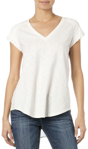 Miss Me White Suede Raglan Sleeve V-Neck Top , Natural, hi-res