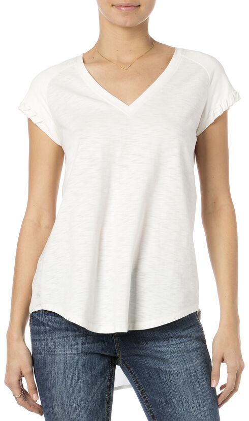 Miss Me White Suede Raglan Sleeve V-Neck Top , Natural, hi-res