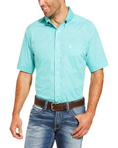 Ariat Men's Garry Short Sleeve Button Down Shirt - Tall, Turquoise, hi-res