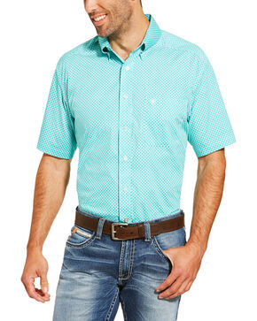 Ariat Men's Garry Short Sleeve Button Down Shirt - Tall, Turquoise, hi-res