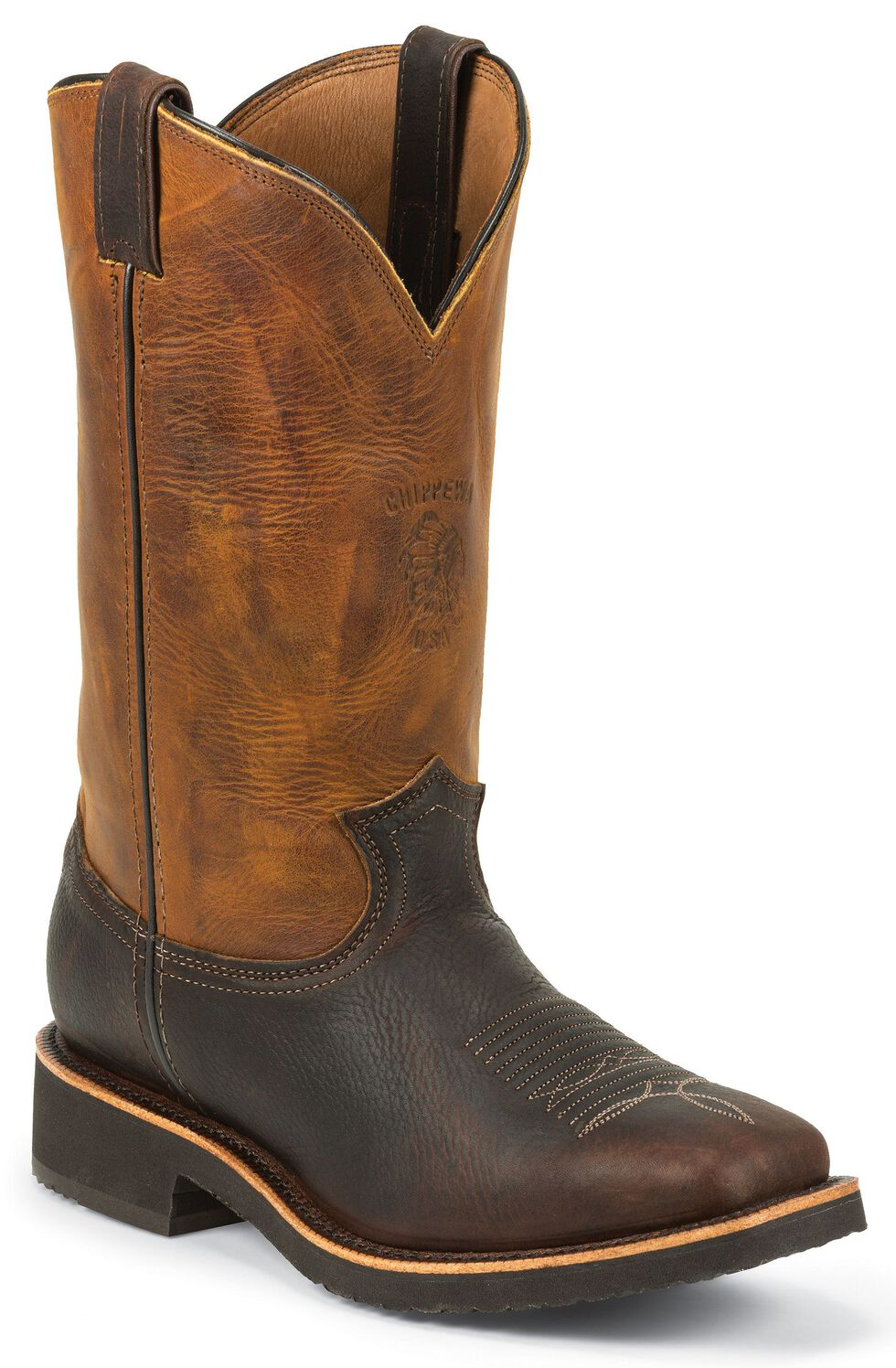 Chippewa Crazy Horse Pitstop Work Boots - Square Toe, Brown, hi-res