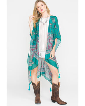 Shyanne Women's Paisley Patterned Sheer Blanket Scarf, Green, hi-res