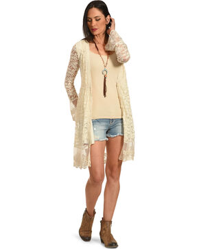 Young Essence Women's Long Lace Cardigan, Beige/khaki, hi-res