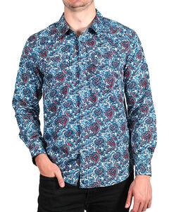 Cody James Men's Paisley Printed Long Sleeve Shirt, Blue, hi-res