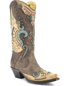 Corral Swan Overlay Cowgirl Boots - Snip Toe , , hi-res