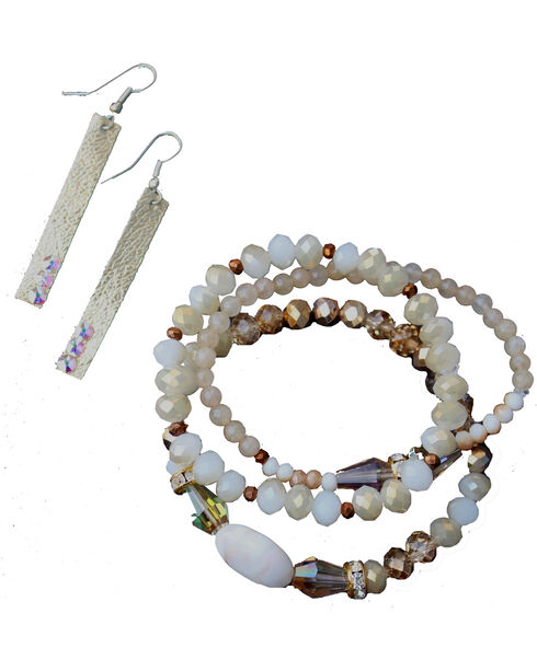 2 Queen B's Women's Natural Colored Crystal & Golf Leaf Jewelry Set, Natural, hi-res
