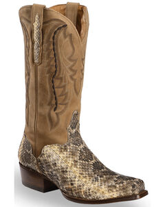 El Dorado Men's Western Rattlesnake Cowboy Boots - Square Toe, Natural, hi-res
