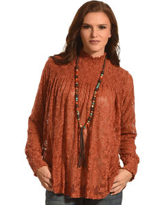 New Direction Sport Women's Russet Ruched Lace Top , Russett, hi-res