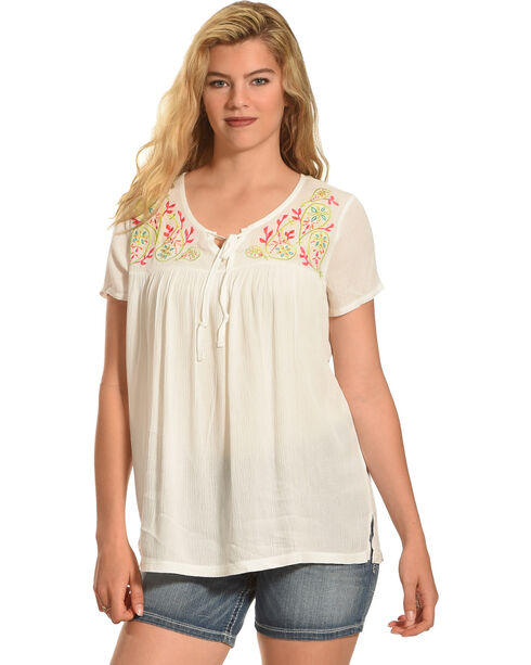 Angel Ranch Women's Colorful Paisley Top, Ivory, hi-res