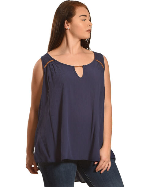 Eyeshadow Women's Keyhole Eyelet Sleeveless Top - Plus, Navy, hi-res