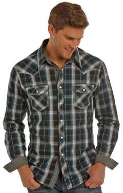 Rock & Roll Cowboy Men's Black Plaid Shirt , , hi-res