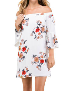 Polagram Women's Red Floral Off The Shoulder Dress, White, hi-res