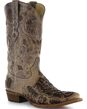 "Corral Men's 13"" Caiman Inlay Exotic Western Boots - Snip Toe, Brown, hi-res"