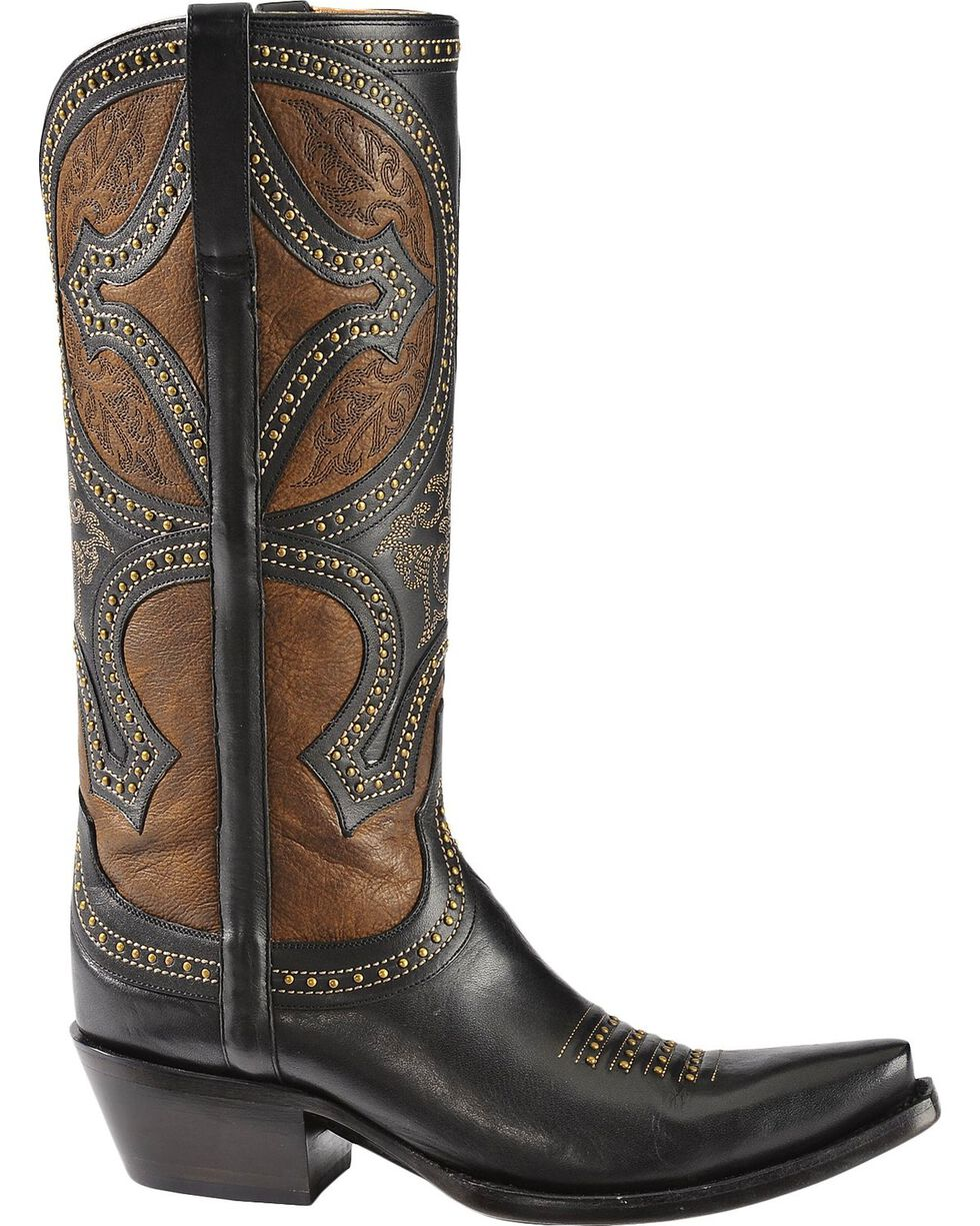 Lucchese 1883 Leila Cowgirl Boots - Snip Toe, Black, hi-res